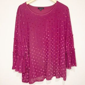 Lane Bryant Polka Dot Blouse Pink Ruffle Sleeve 22